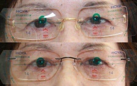 目とレンズ中心