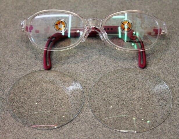 弱視等治療眼鏡加工前